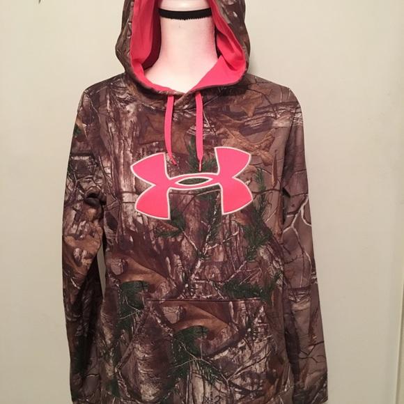 New $65 Under Armour Women/'s Jacket Quarter Zip Sweatshirt Loose Red Camo Ladies